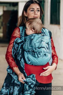 Baby Wrap, Jacquard Weave (100% cotton) - GALLOP BLACK & TURQUOISE - size L