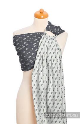 Żakardowa chusta kółkowa do noszenia dzieci, bawełna, ramię bez zakładek - ICHTYS - GRAFTOWY