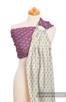 Żakardowa chusta kółkowa do noszenia dzieci, bawełna, ramię bez zakładek - ICHTYS - RÓŻOWY