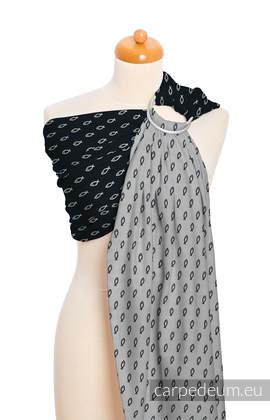Żakardowa chusta kółkowa do noszenia dzieci, bawełna, ramię bez zakładek - ICHTYS - CZARNY