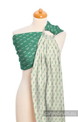 Żakardowa chusta kółkowa do noszenia dzieci, bawełna, ramię bez zakładek - ICHTYS - ZIELONY