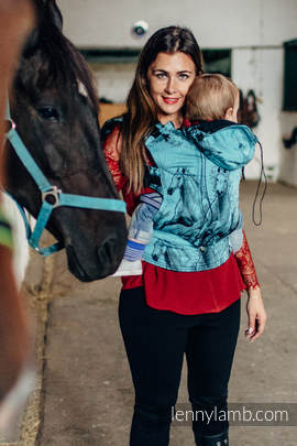 Ergonomic Carrier, Toddler Size, jacquard weave 100% cotton - wrap conversion from GALLOP BLACK & TURQUOISE - Second Generation