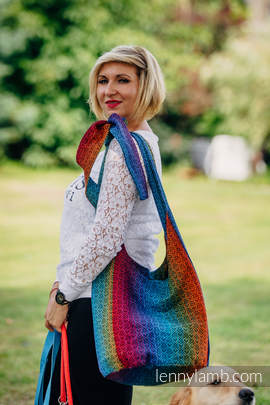 Hobo Bag made of woven fabric (100% cotton) - BIG LOVE RAINBOW DARK
