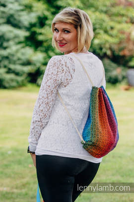 Sackpack made of wrap fabric (100% cotton) - BIG LOVE RAINBOW DARK - standard size 32cmx43cm