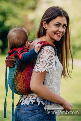 Nosidło Klamrowe ONBUHIMO z tkaniny żakardowej (100% bawełna), rozmiar Toddler - BIG LOVE TĘCZA DARK