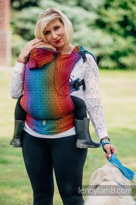 Nosidełko Ergonomiczne z tkaniny żakardowej 100% bawełna , Baby Size, BIG LOVE TĘCZA DARK, Druga Generacja