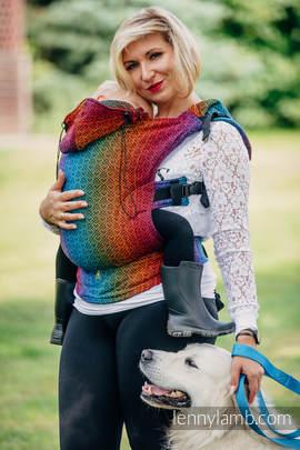 Nosidełko Ergonomiczne z tkaniny żakardowej 100% bawełna , Toddler Size, BIG LOVE TĘCZA DARK, Druga Generacja