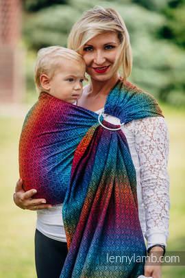 Żakardowa chusta kółkowa do noszenia dzieci, bawełna - BIG LOVE TĘCZA DARK