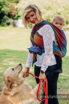 Baby Wrap, Jacquard Weave (100% cotton) - BIG LOVE RAINBOW DARK - size L