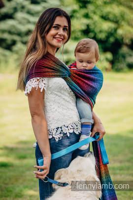 Żakardowa chusta do noszenia dzieci, bawełna - BIG  LOVE TĘCZA DARK - rozmiar XL