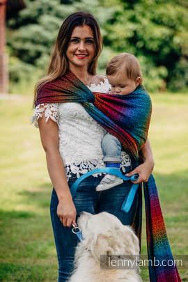 Żakardowa chusta do noszenia dzieci, bawełna - BIG LOVE TĘCZA DARK - rozmiar XS
