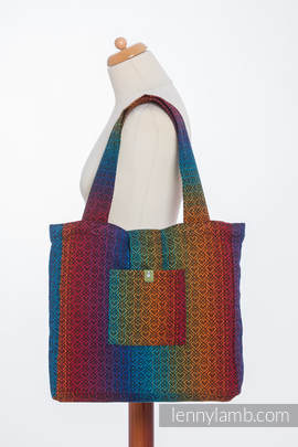 Shoulder bag made of wrap fabric (100% cotton) - BIG LOVE RAINBOW DARK - standard size 37cmx37cm