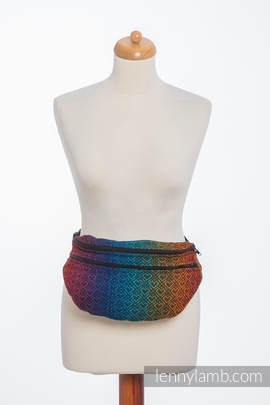 Waist Bag made of woven fabric, size large (100% cotton) - BIG LOVE RAINBOW DARK