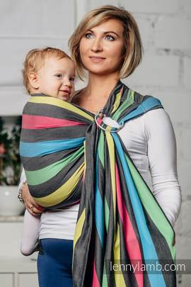 Ring Sling, Broken Twill Weave (40% bamboo + 60% cotton) - Twilight, with gathered shoulder