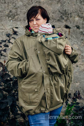 Parka Babywearing Coat - size 3XL - Khaki & Diamond Plaid