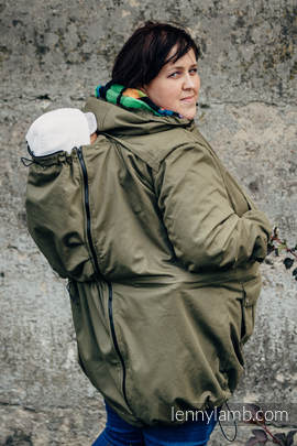 Parka Babywearing Coat - size 6XL - Khaki & Diamond Plaid (grade B)