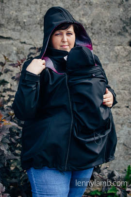 Babywearing Coat - Softshell - Black with Little Herringbone Inspiration - size 4XL