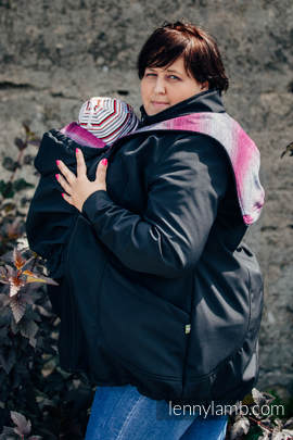 Babywearing Coat - Softshell - Black with Little Herringbone Inspiration - size 6XL