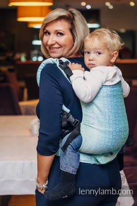 Nosidełko LennyUp z tkaniny żakardowej 100% bawełna , rozmiar standard, BIG LOVE MROŻONA MIĘTA