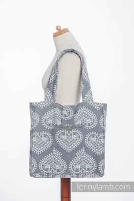 Schultertasche, hergestellt vom gewebten Stoff (100% Baumwolle) - FOLK HEARTS
