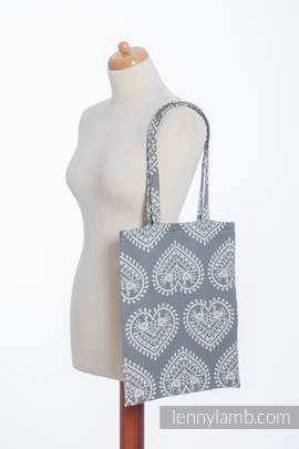 Shopping bag made of wrap fabric (100% cotton) - FOLK HEARTS