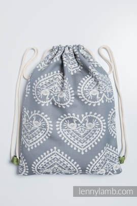 Turnbeutel, hergestellt vom gewebten Stoff (100% Baumwolle) - FOLK HEARTS - Standard Größe 32cmx43cm
