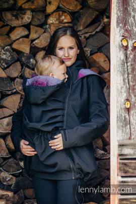 Babywearing Coat - Softshell - Black with Little Herringbone Inspiration - size L (grade B)