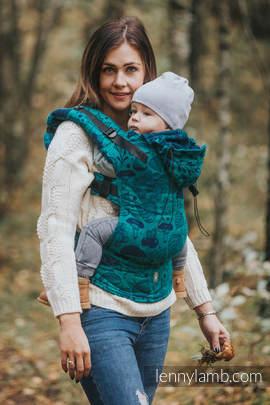 Nosidełko Ergonomiczne z tkaniny żakardowej 100% bawełna , Baby Size, POD LIŚCIEM - Druga Generacja