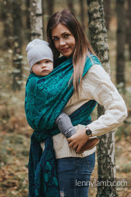 Baby Wrap, Jacquard Weave (100% cotton) - UNDER THE LEAVES - size S