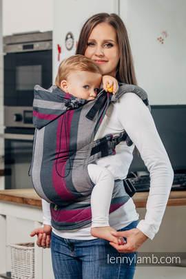 Nosidełko Ergonomiczne z tkaniny skośnokrzyżowej 100% bawełna , Baby Size, SMOKY - FUKSJA - Druga Generacja.