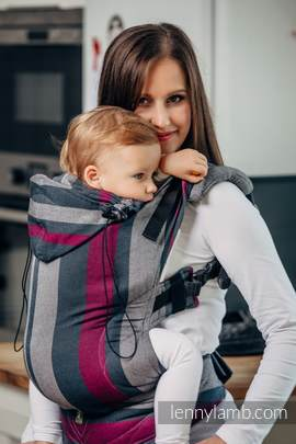 Ergonomic Carrier, Toddler Size, broken-twill weave 100% cotton - wrap conversion from SMOKY - FUCHSIA - Second Generation.