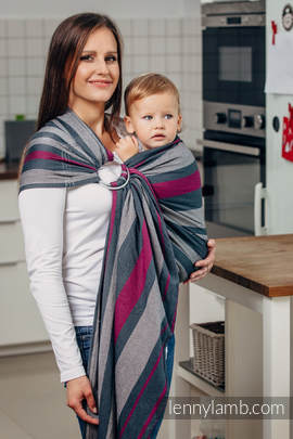 Ring Sling - 100% Cotton - Broken Twill Weave, with gathered shoulder - SMOKY - FUCHSIA