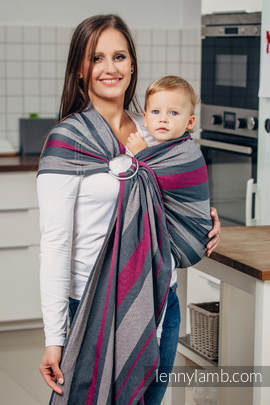 Ring Sling - 100% Cotton - Broken Twill Weave - SMOKY - FUCHSIA