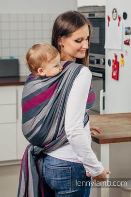 Chusta do noszenia dzieci, tkana splotem skośno-krzyżowym (100% bawełna) - SMOKY - FUKSJA - rozmiar L (drugi gatunek)