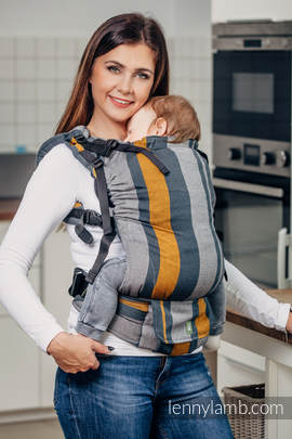 LennyUp Carrier, Standard Size, broken-twill weave 100% cotton - wrap conversion from SMOKY - HONEY