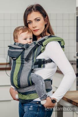 Nosidełko Ergonomiczne z tkaniny skośnokrzyżowej 100% bawełna , Toddler Size, SMOKY - LIMONKA - Druga Generacja.