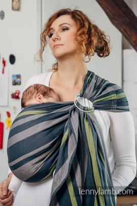 Chusta kółkowa do noszenia dzieci, tkana splotem skośno-krzyżowym - bawełniana - SMOKY - LIMONKA