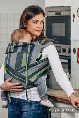 WRAP-TAI carrier Toddler, broken-twill weave - 100% cotton - with hood, SMOKY - LIME