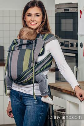 Nosidełko dla dzieci WRAP-TAI MINI, 100 % bawełna skośno-krzyżowa, z kapturkiem, SMOKY - LIMONKA