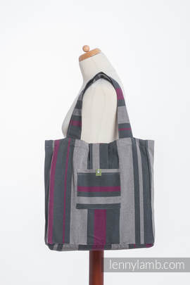 Torba na ramię z materiału chustowego, (100% bawełna) - SMOKY - FUKSJA - uniwersalny rozmiar 37cmx37cm