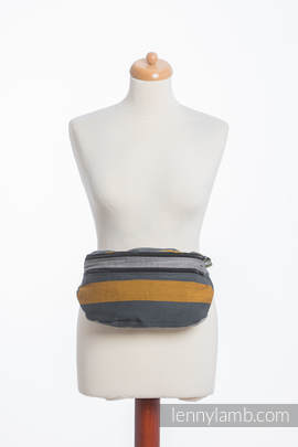 Waist Bag made of woven fabric, size large (100% cotton) - SMOKY - HONEY