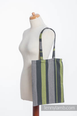 Shopping bag made of wrap fabric (100% cotton) - SMOKY - LIME