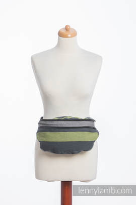 Waist Bag made of woven fabric, size large (100% cotton) - SMOKY - LIME