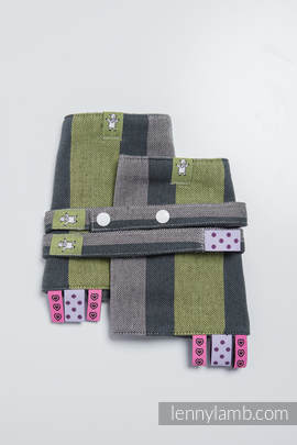 Drool Pads & Reach Straps Set, (100% cotton) - SMOKY - LIME