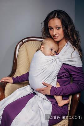 Żakardowa chusta do noszenia dzieci, 80% bawełna , 17% wełna merino, 2% jedwab, 1% kaszmir - KORONKA VINTAGE - rozmiar M (drugi gatunek)