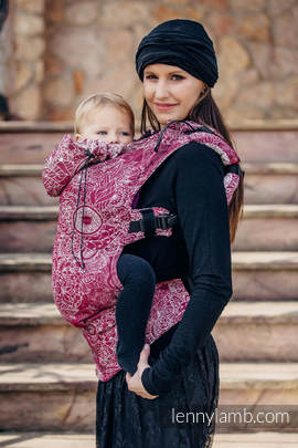Ergonomic Carrier, Toddler Size, jacquard weave 100% cotton - wrap conversion from WILD WINE - Second Generation