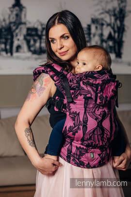 Nosidełko Ergonomiczne z tkaniny żakardowej 100% bawełna , Baby Size, CZAS CZARNY Z RÓŻEM (z czaszką) - Druga Generacja