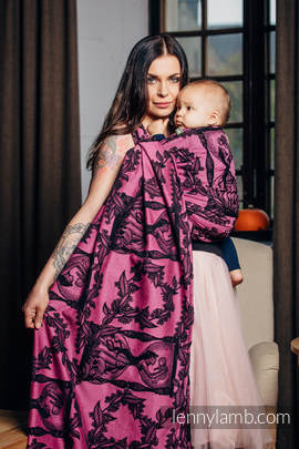 Baby Wrap, Jacquard Weave (100% cotton) - TIME BLACK & PINK (with skull) - size XS