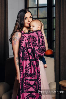 Baby Wrap, Jacquard Weave (100% cotton) - TIME BLACK & PINK (with skull) - size M