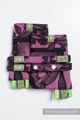 Drool Pads & Reach Straps Set, (100% cotton) - TIME BLACK & PINK (with skull)